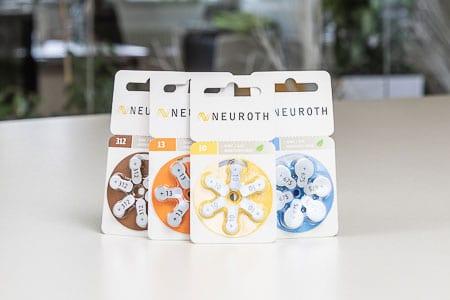 Baterije za slušna pomagala tvrtke Neuroth u ambalaži